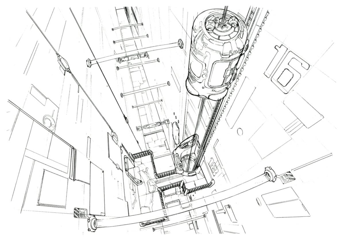 рисунок лифт и карандаш пуску